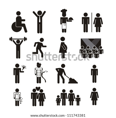 people signs isolated over white background. vector illustration
