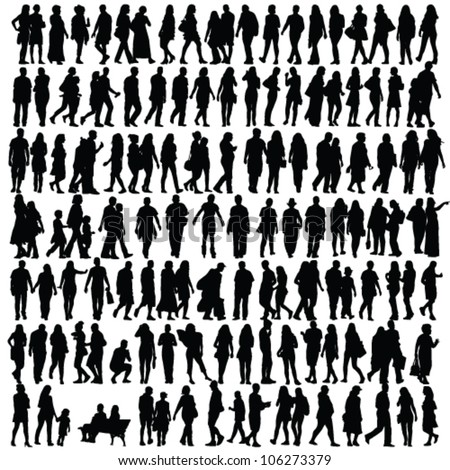 people silhouette black vector girl and man walking illustration - stock vector