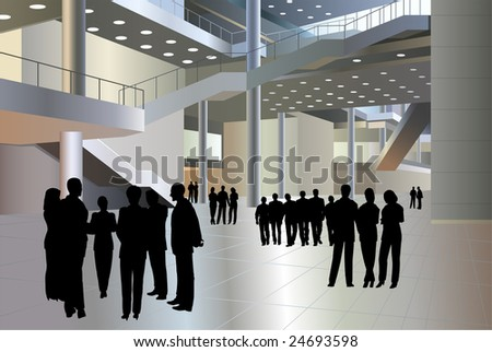 people silhouette in business center vector - stock vector