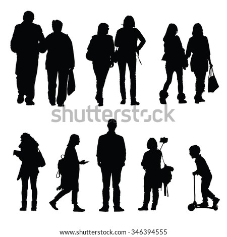 people silhouette walking and couple - stock vector