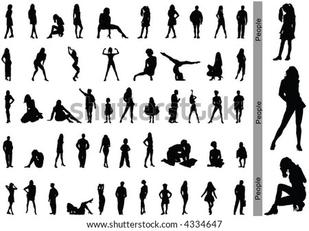 People. Silhouettes - stock vector