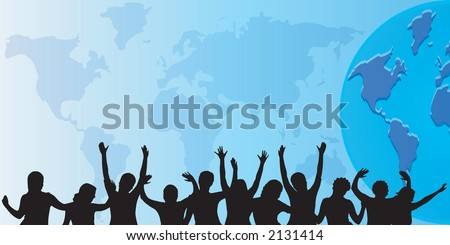 people silhouettes against a world background - stock vector