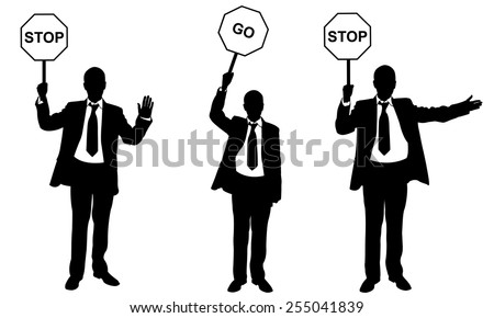 people silhouettes holding road signs - stock vector