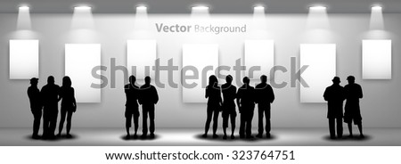 People silhouettes looking on the empty frame with lights for images and advertisement. Ideal concept for promoting product or service. Fully editable eps10 - stock vector