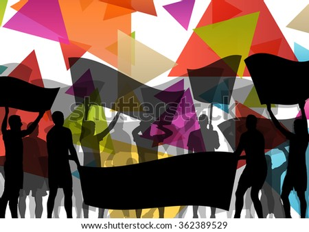People silhouettes of cheering or protesting man and women with banners and signs in abstract vector background illustration - stock vector
