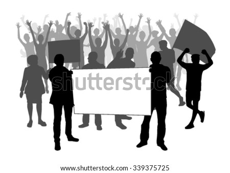 People silhouettes with flags on demonstration