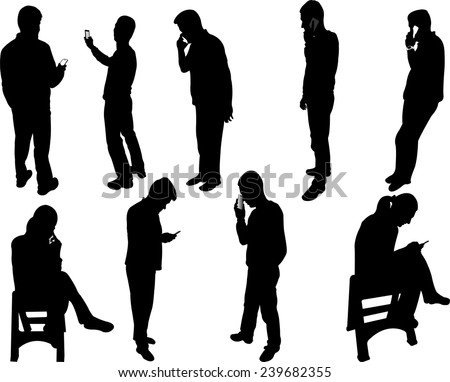 people silhouettes with phone - vector - stock vector