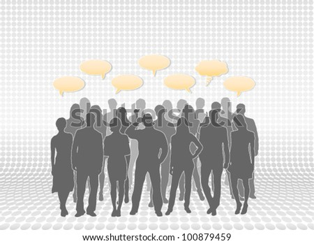 People silhouettes with speech bubbles. People vectors separated and placed in layers for easy editing. - stock vector