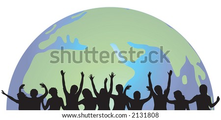 people silhouettes with world background - stock vector