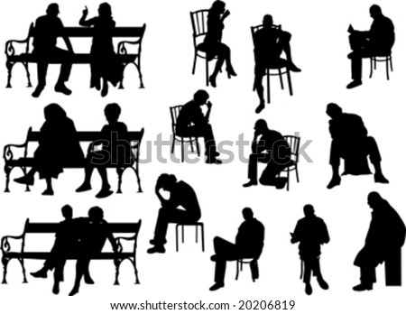 people siting silhouette isolated on white - stock vector