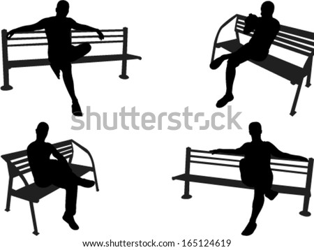 people sitting on a park bench vector