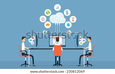 people social business connection on cloud  - stock vector