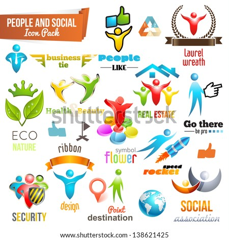 People Social Community 3d icon and Symbol Pack. Vector design elements. Change color of icons in accordance to your logo. Vol. 3 - stock vector
