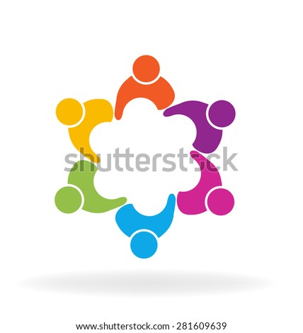 People social media logo design vector template. Teamwork internet family concept icon. Friendship partnership community group and business workers. - stock vector