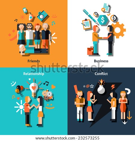 People social relationship with friends business love conflict icons set isolated vector illustration. - stock vector