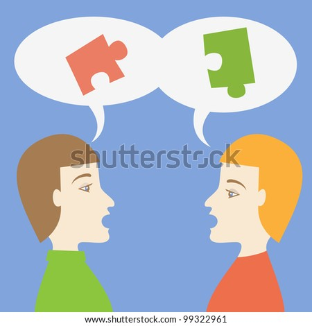 People solving a problem (collaboration). Vector illustration. - stock vector