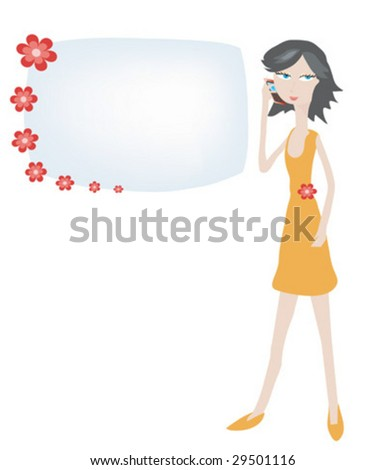 People speak by a mobile phone - stock vector