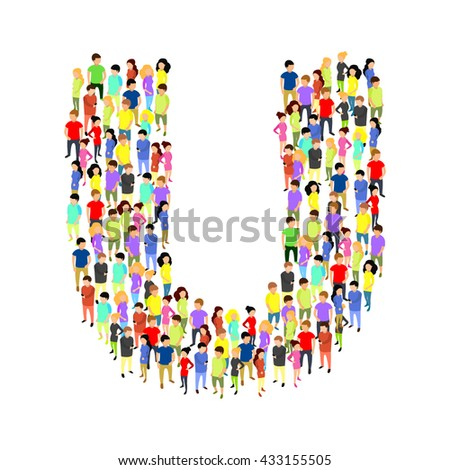 People standing as letter flat isometric 3d vector illustration. Letter concept idea. Creative people collection. - stock vector