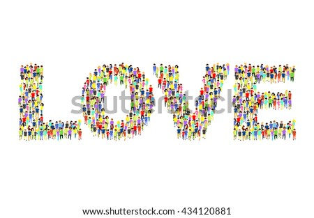 People standing as LOVE inscription flat isometric 3d vector illustration. Letter concept idea. Creative people collection. - stock vector