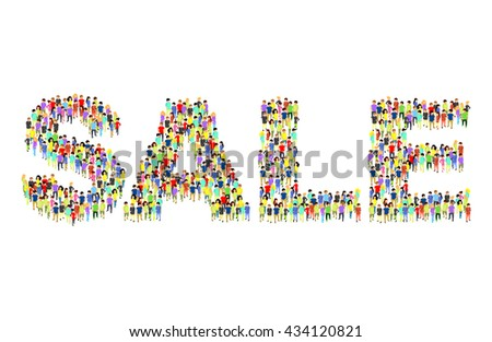 People standing as SALE inscription flat isometric 3d vector illustration. Letter concept idea. Creative people collection. - stock vector