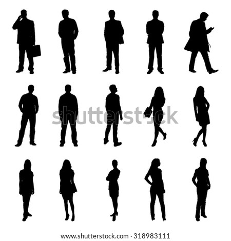 People Standing Black Silhouette Vector Illustrations - stock vector