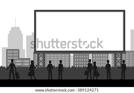 people standing in front of big blank billboard with city background, isolated on white vector illustration