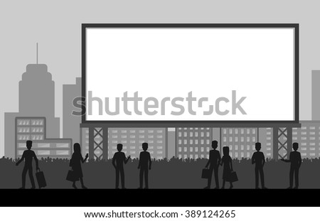 people standing in front of big blank billboard with city background, silhouette vector illustration