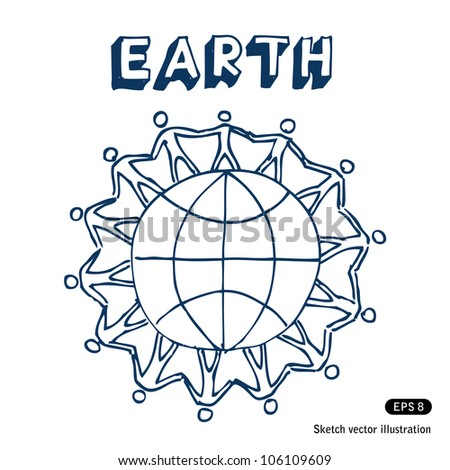 People standing together on Earth. Hand drawn sketch illustration isolated on white background - stock vector