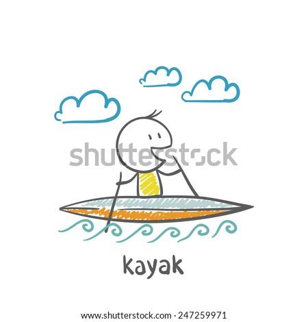 people swimming, kayaking illustration - stock vector