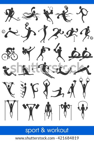 people symbols, representing different sport activities and athletics - stock vector