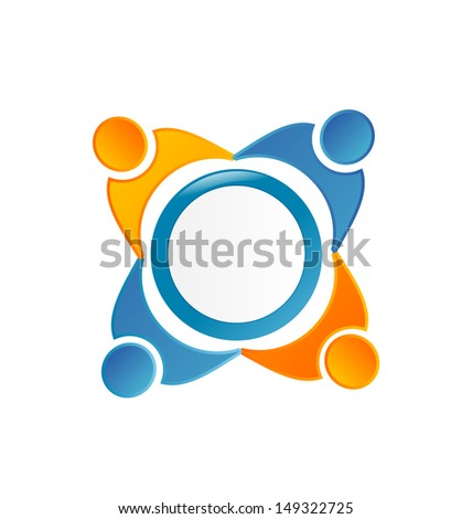 People symbols working as team- networking business - stock vector