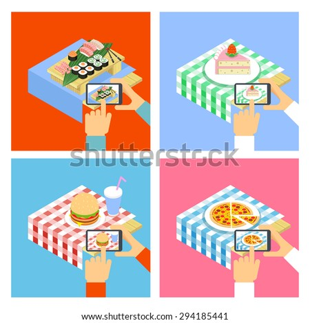 People taking photo of food with smartphone. Vector concept illustration - stock vector