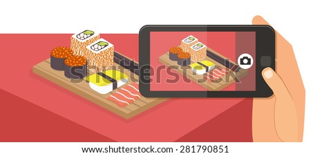 People taking picture photo of their food in restaurant with smartphone, selfie shot flat vector illustration banner - stock vector