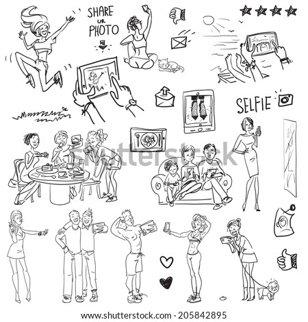 People taking pictures. Cartoon funny doodles. - stock vector