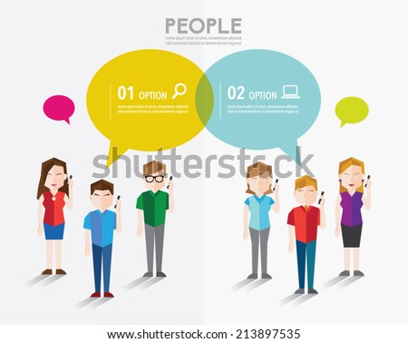 People talk using mobile phone and gather together vector design - stock vector