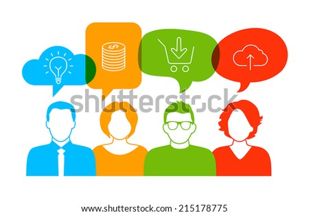People talking about business, plans and productivity. - stock vector