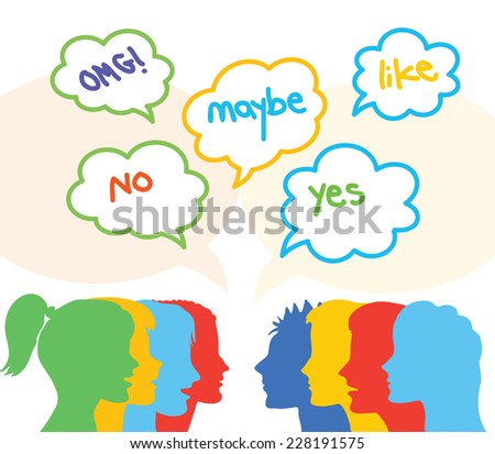 people talking and speech bubbles with the words: yes, no, maybe, OMG, like - Vector illustration - stock vector
