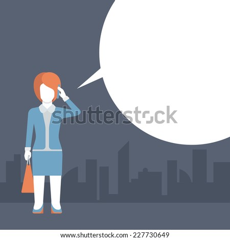 People talking balloon message comic modern style flat template vector. Young female with shopping bag talking phone and blank copyspace place your text or logo. Flat business templates collection. - stock vector