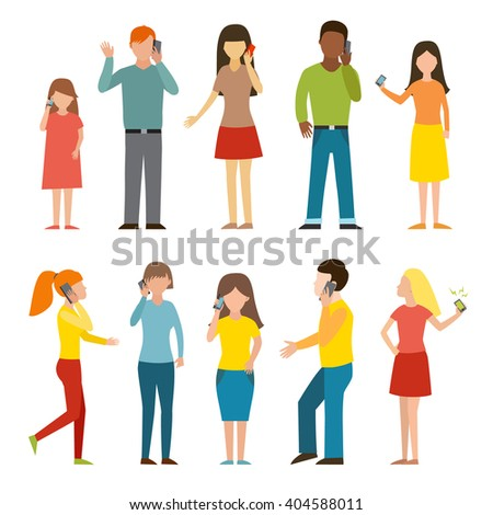 People talking phone character set and different people talking phone. Telephone communication people lifestyle. Set of calling mobile business adult people talking phone character vector illustration - stock vector
