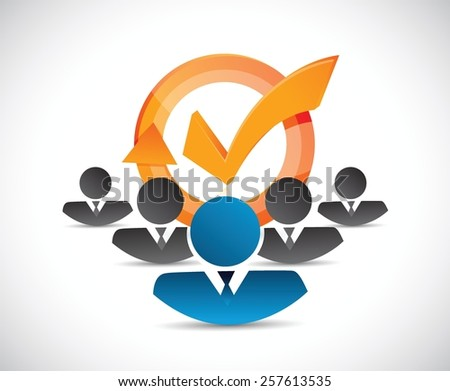 people team and check mark cycle illustration design over white - stock vector