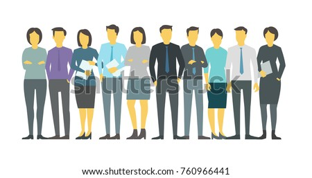 People team student in line group business persona. Stock vector illustration