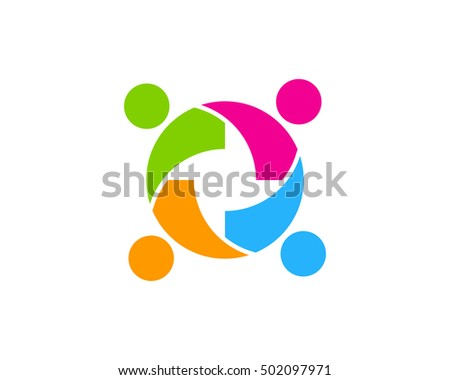 People Teamwork Logo Design Template