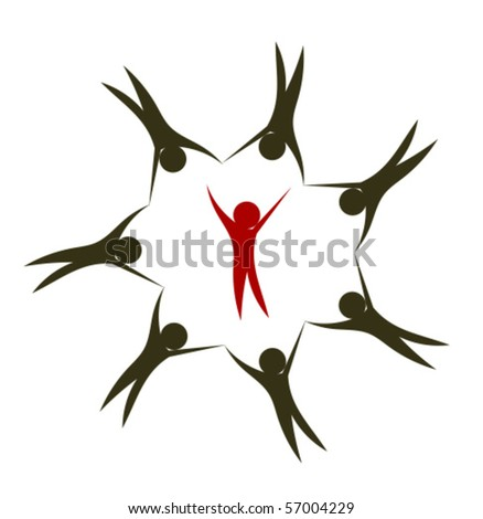People together holding hands in circle. Leader inside. Creative logo design - stock vector