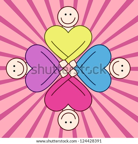 People togetherness - pastel colors. - stock vector