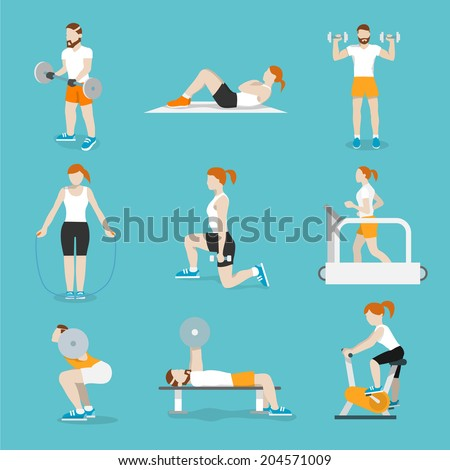People training exercise bikes and cardio fitness treadmills with bench press icons collection flat isolated vector illustration - stock vector