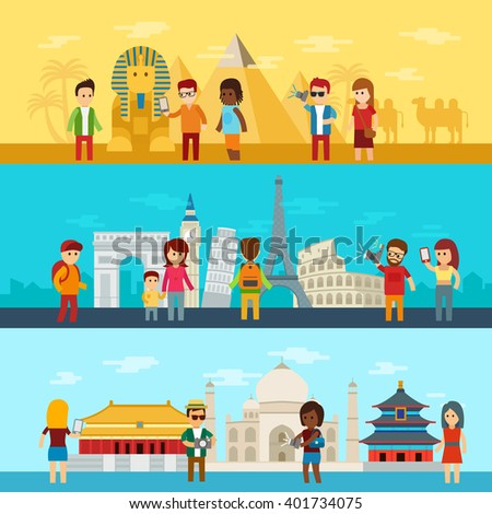 People travel around world, in different parts of the world, tourists looking and photograph of sights in Egypt, Europe and Asia. Travel and tourism infographic elements and world landmarks icon set - stock vector