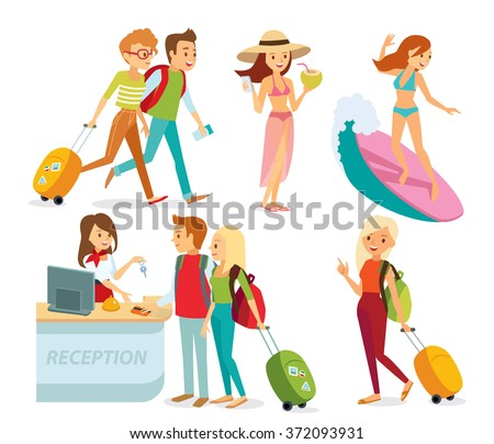 people traveling on summer holidays - stock vector