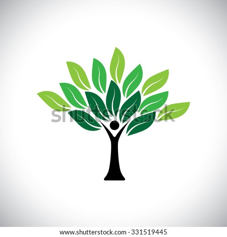 people tree icon with colorful leaves - eco concept vector. This graphic also represents peace, union, unity, embrace, blend, join, unify, renewable, sustainability, harmony - stock vector