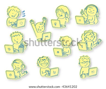 People using laptops. Vector illustration of people giving different uses to their laptops. - stock vector