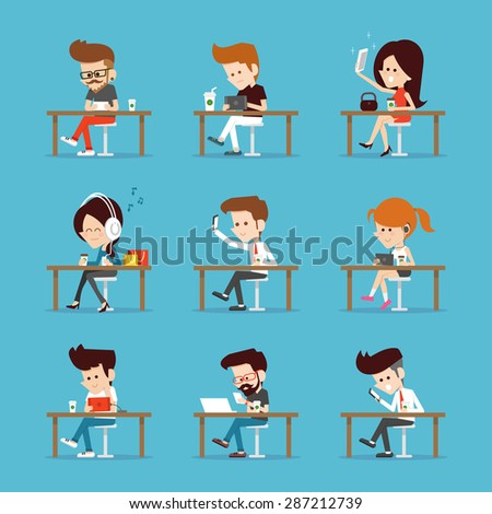 People using Tablet computer. - stock vector